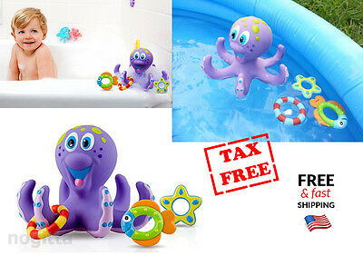 Floating Baby Bath & Pool Toy Octopus Hoopla Bathtime Fun Purple BPA Free - NEW