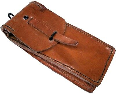 Genuine French Army Vintage Surplus Leather Pouch DAMAGED '60s pencil etui