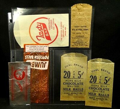 6 1920s - 40s Candy Wrapper Advertisments M & M Malted Milk Balls Tasty Bar
