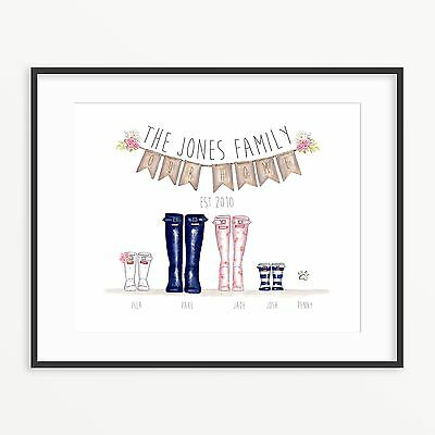 Personalised Wellington Boot Print New Home Gift Family Wellie Print
