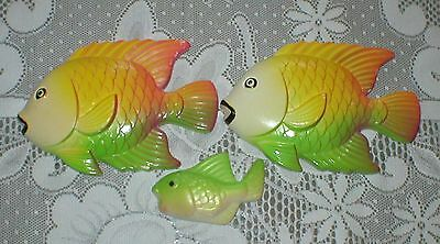 Vintage Fish Family Miller Studio Chalkware Wall Plaques Vintage 1978