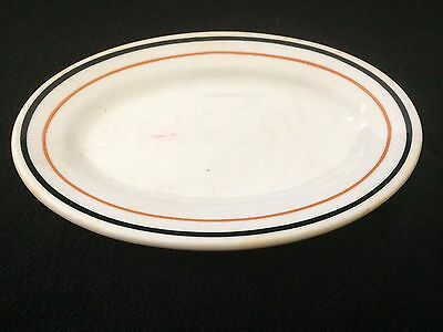 SYRACUSE CHINA  Restaurant Ware  Oval Serving DISH, BLACK BURNT ORANGE Stripes