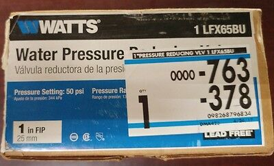 Watts Water Pressure Reducing Valve 1 inch FIP LFX65BU