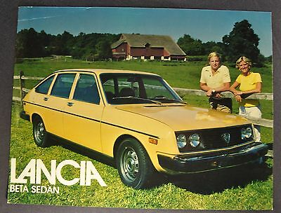 1977-1978 Lancia Beta Sedan Sales Brochure Sheet Excellent Original