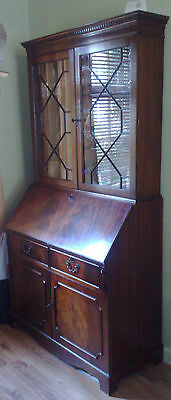 Superb GEORGIAN STYLE 2 PIECE BUREAUX WITH GLAZED BOOKCASE OAK? WALNUT VENNER