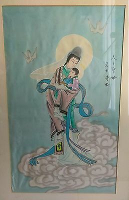 Fine Old Chinese MADONNA child Religious Dove Painting on Silk Art SIGNED