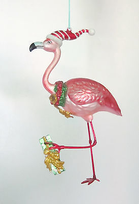 Pink Flamingo Holding A Gift Hanging Tropical Tree Ornament  Too Cool