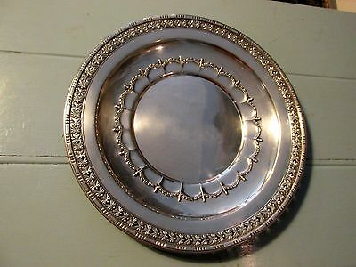 "587 gram sterling silver Wallace 12 1/2"" highly decorated charger plate platter"