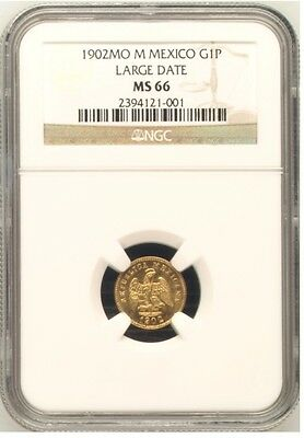 MEXICO GOLD PESO 1902 Mo LARGE DATE NGC MS66 FINEST KNOWN POP 1/0  PCGS & NGC