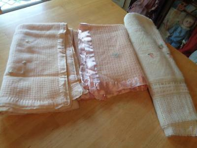 3 Vintage Baby Blankets~Used~Great For Old Dolls~