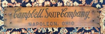 VINTAGE 1960s WOOD CAMPBELLS SOUP CO. NAPOLEON OHIO CRATE BOX SIDE SIGN