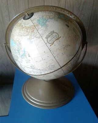 "Vintage Cram's Imperial World Globe 12"" Dia. Tan W/gold Colored Metal Stand/base"