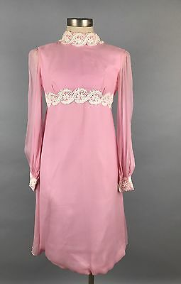 Vintage 1960s 60s Pink Dress Party Dress Shift Bishop Bell Sleeves Mid Century
