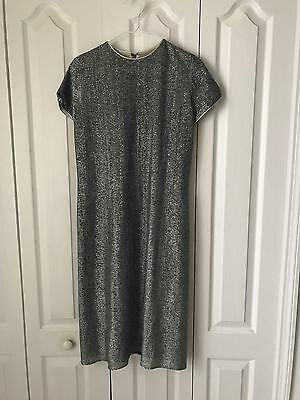 Vintage 1960s 1970s Lycra Metallic Silver Dress Disco Party Occasion Dress VLV