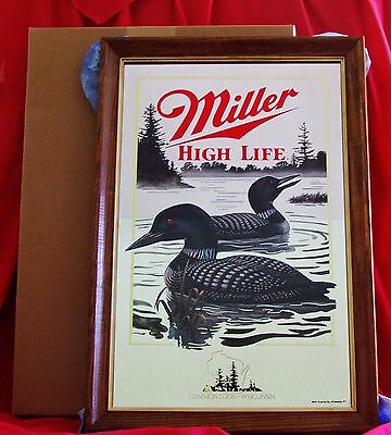 Wow Beautiful Brand New In The Box Miller High Life Beer Common Loon Mirror Sign
