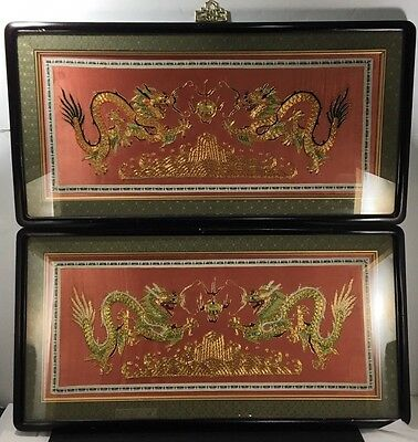 2 Matching Qing Chinese Silk Tapestry Panel Five-Toed Gold Dragons Framed