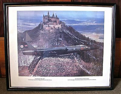 Large Vintage Photo of CF-104 Starfire flying by Hohenzollern Castle , Germany