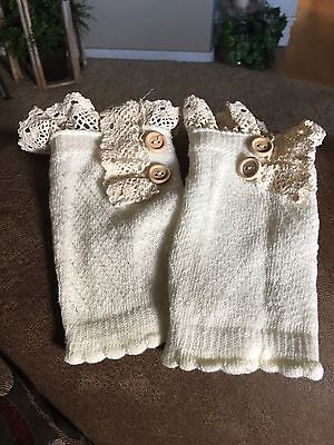 Ivory Boot Cuffs With Lace And Bottons