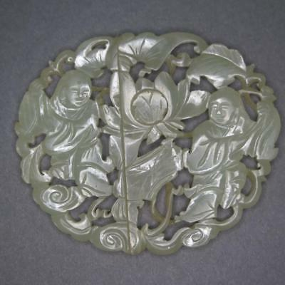 Fine Antique Chinese Stunning Jade Buckle Of Two Boys Playing - Qing