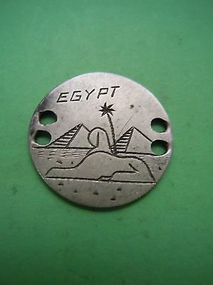 Dime Sized World Silver Coin Engraved Egypt Pryamids Sphinx Love Token Rare