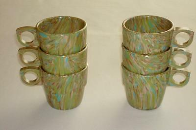 6 Vintage Prolon Ware Green Confetti Spatter Melmac Stackable Cups Mugs Excelnt!