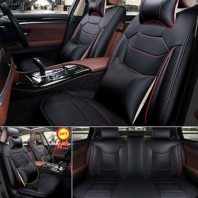 s size 5 seat car suv linen seat covers front rear 4pc free pillows set black cad. Black Bedroom Furniture Sets. Home Design Ideas
