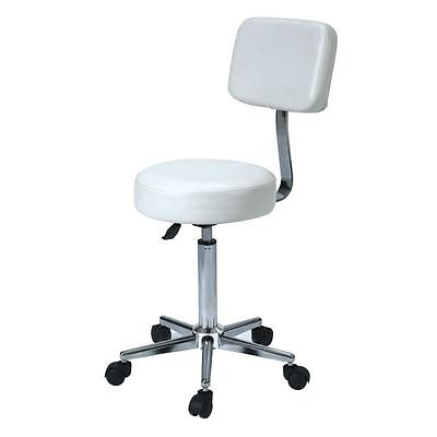 NEW White Adjustable Stool Wheels Hairdresser Stylist Hair Salon Steel Portable