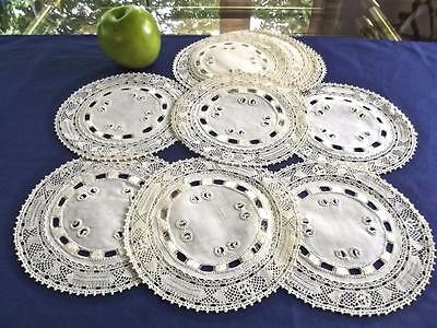 "12 Unused Antique Belgian Linen 6.25"" Round Coasters Mechlin Bobbin Lace Doilies"