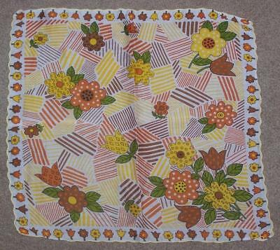 Vintage Women's Handkerchief, Yellow, Orange And Brown Flowers