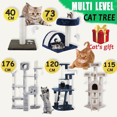 Cat Scratching Post Tree Scratcher Pole Furniture Gym House Toy Bed Ladder Sisal