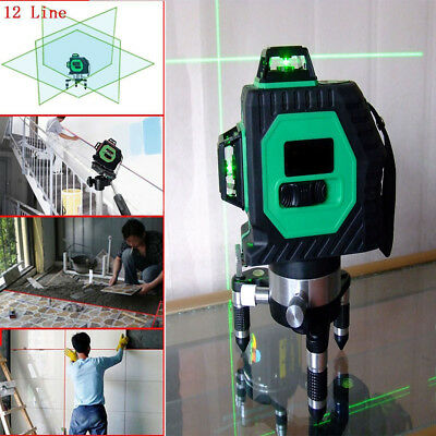 3D Green Laser Level Self Leveling 12 Line 360 °Horizontal Vertical Cross New SR