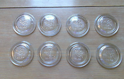 Lot of 8 BALL No. 10 Clear Glass Canning Lid Inserts