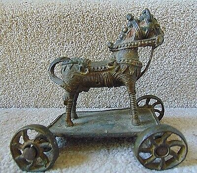 Older Collectible Metal Hand Carved Big Size Wheel Cart Horse  India?