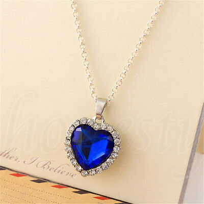 Titanic Pendant &Necklace Crystal Silver Necklace Sapphire Blue Heart of Ocean