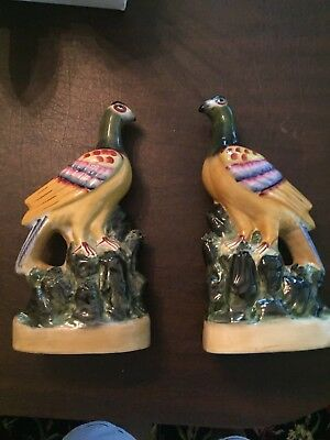 PAIR 19thC STAFFORDSHIRE COLOURED PIGEON BIRDS FIGURES ON DECORATIVE BASE c1860s