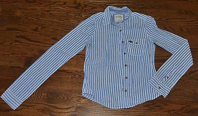 abercrombie kids GIRLS SIZE S SMALL 7/8 BLUE AND WHITE STRIPED BUTTON DOWN SHIRT