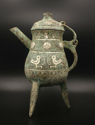 exquisite Chinese antiques ancient bronze inlaid with silver pot drinking vessel