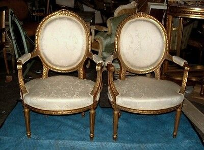 Exquisite Pair of French Gilded Louis XVI Fauteuils Chairs Ribbon Bow Crest