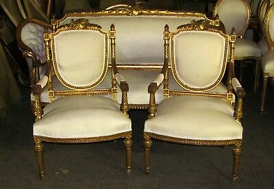 19th C. Lovely Three Pcs Unique Ornate Gilded Louis XVI Empire Settee and Chairs