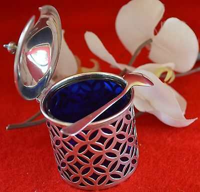 Antique 927 Sterling Silver Lided Cup Holder  W/ Dark Blue  Glass + Small Spoon