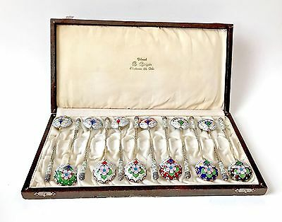 Antique Imperial Russian 84 Silver Gilt & Enamel Set of 12 Spoons with Box