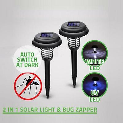 Solar Powered LED Light Mosquito Pest Zapper Insect Killer Lamp Garden Lawn EE