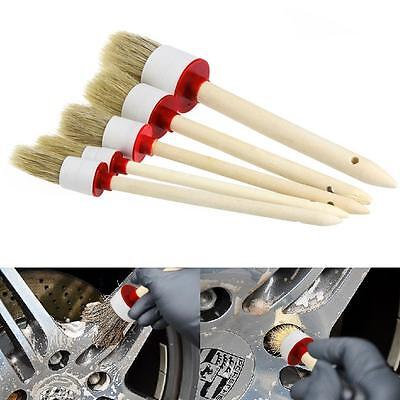 5Pcs Soft Car Detailing Brushes for Cleaning Trim Seats Wheels Wood Handle EE