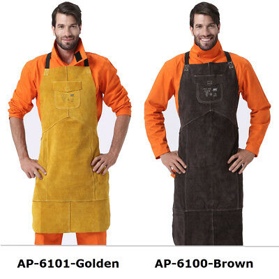 "AP-6100  Brown/Golden 42"" Full Cowhide Leather Welding Bib Apron with Pocket"