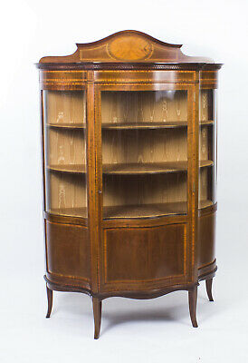 Antique Edwardian Serpentine Glazed Inlaid Mahogany Display Cabinet C1900