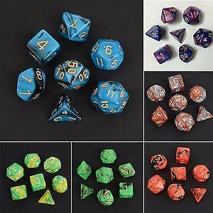 7Pcs/Sets Double-Color Polyhedral Dice Colorful Dungeons&Dragons Games D4-D20