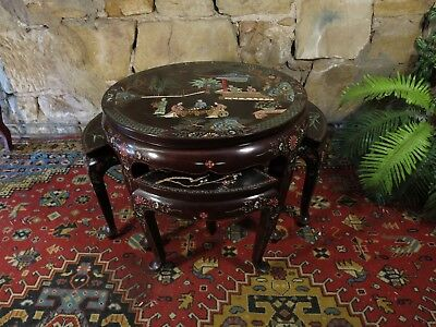 Vintage Oriental HandCarved Coffee Table + 4 Chairs-Figural+Flowers-Chinese