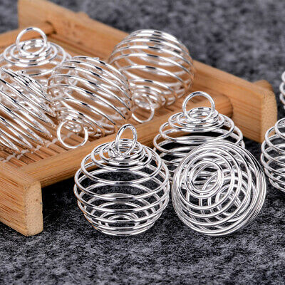 10pcs Silver Plated 25mm Spiral Bead Cages DIY Pendant Jewellery Findings HOT
