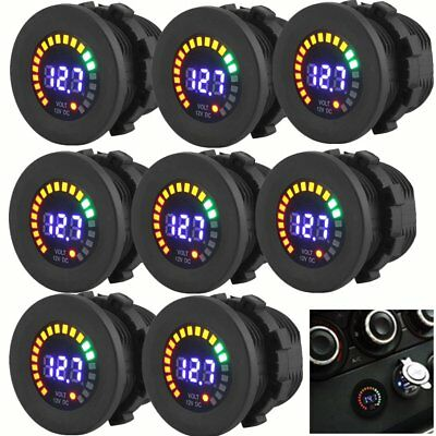 LOT Waterproof 12V Car Van Boat Marine LED Voltmeter Voltage Meter Battery Gauge