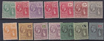 British Virgin Is 1922 - 28 S G 86 - 100  Var/values To 2/6 Mh Toned Gum To Most